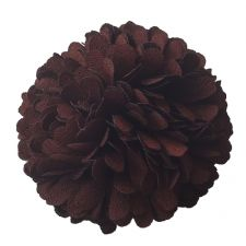 6cm Marigold PomPom CHOCOLATE BROWN Fabric Flower Applique